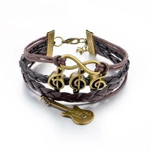 💍Treble Clef/Guitar Aged Brass-toned Multistrand
